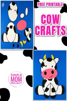 Watch the excitement on your toddlers face when you share these cute farm animal crafts. This simple cut and paste cow craft comes complete with free printable template and easy to follow step by step instructions. Your kids will create new farm animal crafts in no time at all with this free printable cow craft, so come visit our site for your templates, then share your pics on this pin - I'd love to see your finished cow crafts today! Farm Animal Crafts, Farm Animals, Easy Crafts, Crafts For Kids, Cow Craft, New Farm, Cute Cows, Pink Cards, Farm Theme