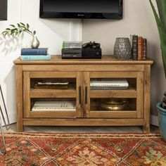 Walker Edison Furniture Company 44 in. Wood Corner TV Media Stand Storage Console - Barnwood - The Home Depot Black Dining Table Set, Round Dining Table Sets, Solid Wood Dining Set, Tv Media Stands, Tv Stands, Wood Corner Tv Stand, Tv Stand Console, Modern Farmhouse Style, Rustic Style