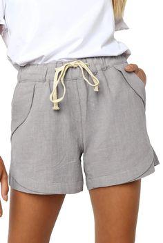 Women Casual Gray Faylin Linen Shorts – ModeShe.com