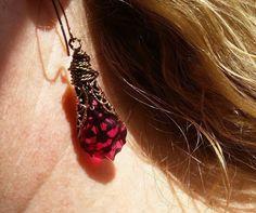 Ruby Red Necklace & Earrings in Golden Filigree with Swarovski Luxury Wrap SALE #ArtistiqueJewelry