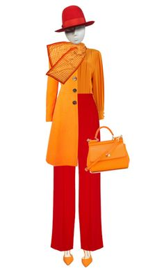 """Red & Orange"" by lorantin ❤ liked on Polyvore featuring Manolo Blahnik, Hardy Amies, Bibhu Mohapatra, Dolce&Gabbana, Perry Ellis and Borsalino"