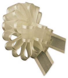 Bows - Ivory Sheer Satin Edge Pull Bows, 18 Loops, 1 1/2' Width (12 Bows) - BOWS-PR815-02 >>> For more information, visit image link.