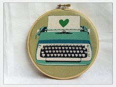 """Retro Typewriter fabric as Embroidery Hoop Wall Art.   The fabric is from the """"Ruby Star Rising"""" range by Melody Miller.  $17"""