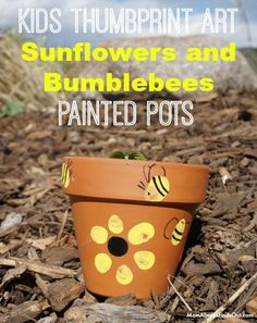 Garden Crafts For Kids - Thumbprint Art Sunflowers and Bumblebees Painted Flower Pots. Cute and easy craft idea for Spring. #GroablesProject #ad