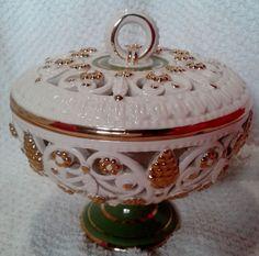 Starožitná cukřenka • zdobený porcelán