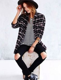 Women's Casual Style High Waisted Hole Ripped Jeans! The fit is great on these jeans and the material is super soft! we love them with this plaid skirt and ankle boots | Women's Denim outfit ideas | What to wear with jeans and look amazing.