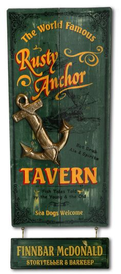 Northwest Gifts - Rusty Anchor Tavern Vintage Pub Sign with Optional Name Board. Classy antique-style fisherman's pub plaque, made in the USA and personalized just for you.