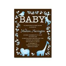 Jungle Safari Animals Baby Shower Invitations Blue for Boy