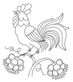 The Crewel Rooster: a design for crewel work and thread comparisons