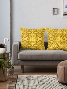 Helices, yellow & brown abstract pattern Throw Pillows by Clipsocallipso Worldwide shipping  Brown helices and dots on shining yellow background. Seamless abstract hand drawn arabesque pattern.   © Clipso-Callipso / Julia Khoroshikh  #yellow #brown #yellowandbrown #helices #arabesque #pattern #abstract #curves #patterndesign #clipsocallipso #printshop #textiledesign #apparel  #yellowaesthetic #redbubble  #pillows #cushion #homedecor #supportartist