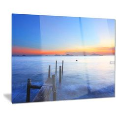 """DesignArt Metal 'Summer Sea with Wooden Pier' Photographic Print Size: 12"""" H x 28"""" W"""