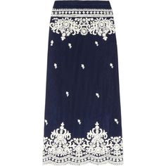 Leaves of Grass Aria embroidered silk-chiffon maxi skirt ($260) ❤ liked on Polyvore featuring skirts, bottoms, maxi skirts, blue, navy, leaves of grass, navy maxi skirt, ankle length skirt, floor length skirt and long blue skirt