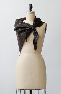 vintage 1970s brown highlands plaid shawl
