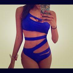 Monokini. One piece blue one piece swimsuit. cut out brazilian bandage monokini swimsuits sexy high waist Swim One Pieces Sexy Bikini, Brasilianischer Bikini, Bikini Beach, Ropa Interior Boxers, Black Triangle Bikini, Triangle Swimwear, Look 2018, Stuck, One Piece For Women