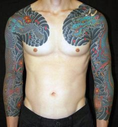 Traditional Japanese Dragon Tattoo Sleeves by Shinji Horizakura Dragon Tattoo Full Sleeve, Dragon Tattoo Outline, Dragon Tattoo Designs, Tattoo Sleeve Designs, Tattoo Sleeves, Japanese Tattoos For Men, Japanese Dragon Tattoos, Japanese Tattoo Designs, Japanese Sleeve Tattoos