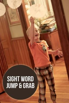 Find the sight word and jump and grab it - great activity for those rambunctious days - and cool twist on learning sight words!