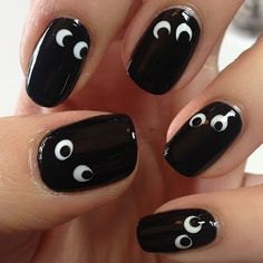Cute nails!!  You could do the opposite...paint the nails white and put black eyes and a mouth like a ghost!!   How cute for halloween!! by Cathi-d