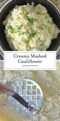 Cauliflower is a healthier alternative to mashed potatoes, with fewer carbs! This Mashed Cauliflower recipe is perfectly smooth and creamy! Califlower Mashed, Keto Mashed Cauliflower, Easy Mashed Potatoes, Weight Watchers Mashed Cauliflower Recipe, Colliflower Recipes, Pureed Food Recipes, Healthy Recipes, Healthy Lunches