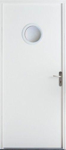Porte acier, Porte entree, Porte service, Poignee plaque couleur argent, Petit vitrage, Double vitrage sable, Isolation thermique performante, PSA 3