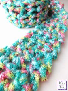 Fun Finger Crochet Scarf for Kids, free pattern from Fiber Flux