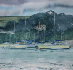 Falmouth, Cornwall boats, boat painting in watercolour, original watercolour of Falmouth, seascape, misty, sea mist, atmospheric watercolour by PenstoneArt on Etsy