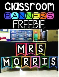 Classroom Banner Freebie by Kayse Morris - Teaching on Less Classroom Banner, Classroom Labels, Classroom Freebies, Preschool Classroom, Future Classroom, Classroom Themes, In Kindergarten, Teacher Freebies, Classroom Design