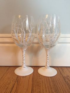 Hand painted wine glasses. Birch trees  https://www.etsy.com/shop/buttonwoodboutique