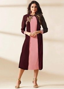 Excellent Faux Georgette Brown and Pink Designer Kurti