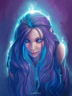 elf girl with magic glowy hair by apterus