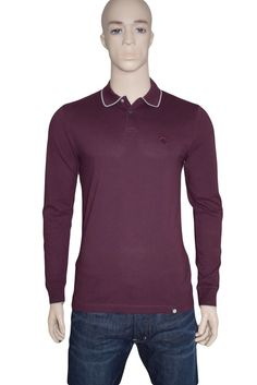 Pretty Green Barcombe Long Sleeve Polo Shirt Burgundy Medium BNWT Liam Gallagher #PrettyGreen #PoloShirts