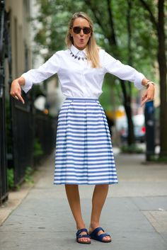 button-down shirt and striped skirt with birkenstocks