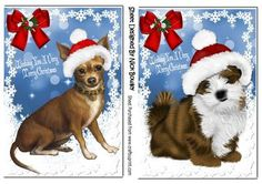 Cute little Chihuahua Lhasa puppies in santa hats on Craftsuprint - Add To Basket!