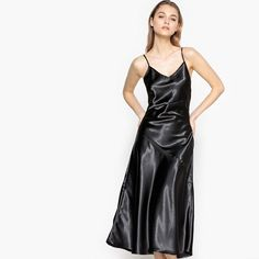 Satin dress with crossover straps La Redoute Collections Silver Satin Dress, Satin Dresses, Black Satin, Satin Slip, Silk Satin, Uk Fashion, London Fashion, Robes Midi, Glamour