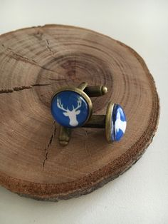 Blue Stag Glass Dome Cufflinks - As You Were Glass Domes, Cufflinks, Jewelry Accessories, Stud Earrings, Jewellery, Blue, Jewelry Findings, Jewels, Jewelry Shop
