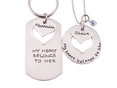 Personalized My Heart Belongs To Him Her -  Couple Necklace Keychain Set - Personalized - Hand Stamped Stainless Steel
