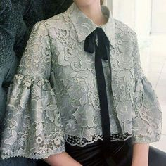 antern - sleeve lace top from RTW collection by African Fashion Dresses, Hijab Fashion, Fashion Outfits, Womens Fashion, Blouse Styles, Blouse Designs, Dress Brokat, Blouse Models, Lace Tops