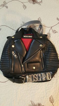 ORIG   Mschino JS Biker Jacket Leather Gold Backpack  women bag #Moschino #BackpackStyle