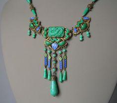 Vintage-Art-Deco-MAX-NEIGER-CZECH-NECKLACE-Jade-Glass-Enamel-DRAGON