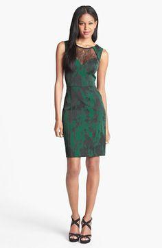Lace Neckline Jacquard Sheath Dress