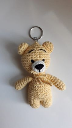 Amigurumi Yellow Teddy Bear Keychain Making - Amigurumi - Oyuncak / Toys Amigurumi Patterns, Amigurumi Doll, Crochet Patterns, Crochet Tutorials, Pinterest Crochet, Tiny Teddies, Heart Crafts, Half Double Crochet, Yarn Colors