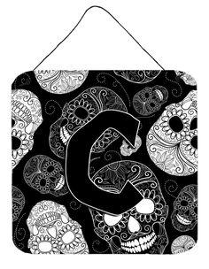 Letter C Day of the Dead Skulls Black Wall or Door Hanging Prints CJ2008-CDS66