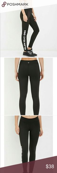 """""""Mind over matter"""" workout pants Brand new. Never worn. Size small. """"Mind over matter"""" Forever 21 Pants Leggings"""