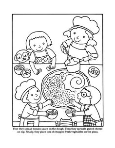 Pizza Coloring Page, Dover Coloring Pages, Food Coloring Pages, Coloring Books, Make Your Own Pizza, Kids Class, Dover Publications, Space Party, Food Themes