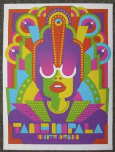 Original silkscreen concert poster for Tame Impala and White Denim at The Boulder Theater in Boulder, CO in 2013. 18 x 24 inches on card stock. Signed and numbered limited edition of only 170 by artist Dan Stiles.