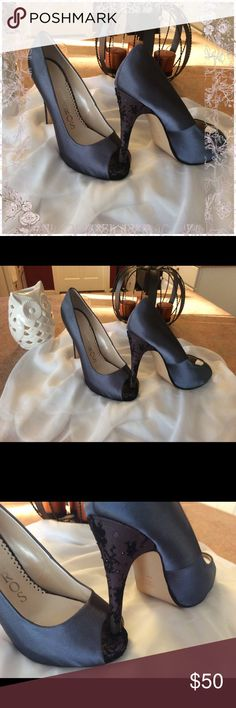 🦉gorgeous embellished lace heels 🦉 Gorgeous shoes satin- grayish blue Lacey peeptoe and heel embellished lace - 5 3/4 inch heel - excellent lightly used condition Caparros Shoes Heels