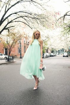 pastel blue maxi dress 2017 with cute bag