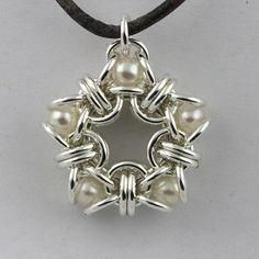 Pearl Star Chainmaille Pendant by wanting