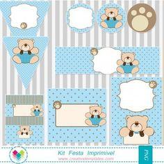 Kit festa imprimir - Ursinho Azul e marrom mod:46 Printable Party Teddy Bear Polka Dot