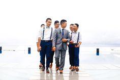 #groomsmen #suspenders #bowtie #navy #chinos #brown #shoes #groom #gray #grey #suit #Acuatico  #beachwedding #valentinesday
