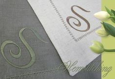 Linen placemats (table runner??) using heirloom machine sewing techniques.